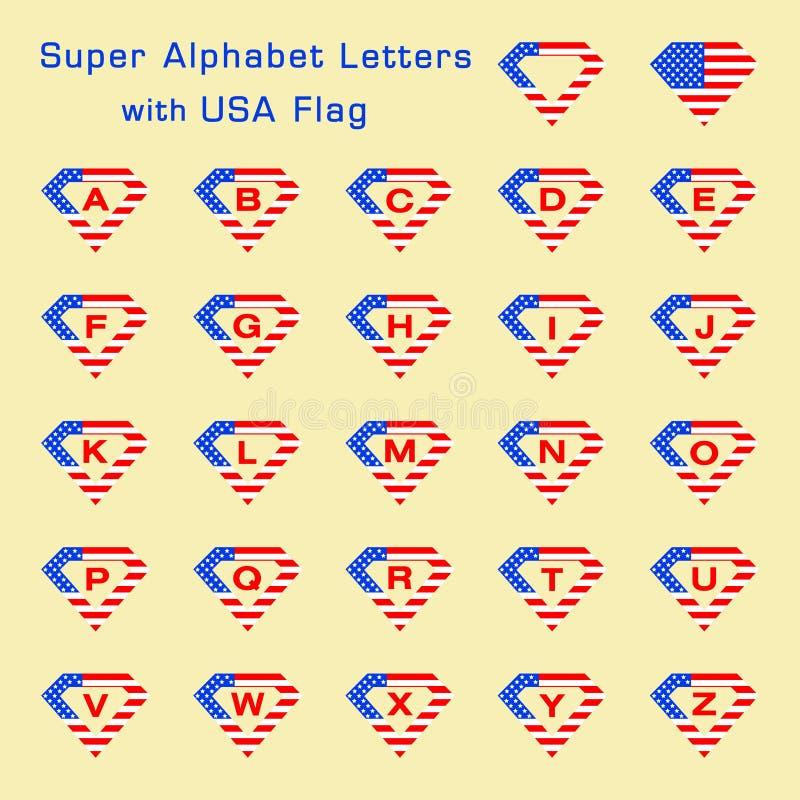 Superalphabetbuchstaben mit USA-Flagge lizenzfreie abbildung