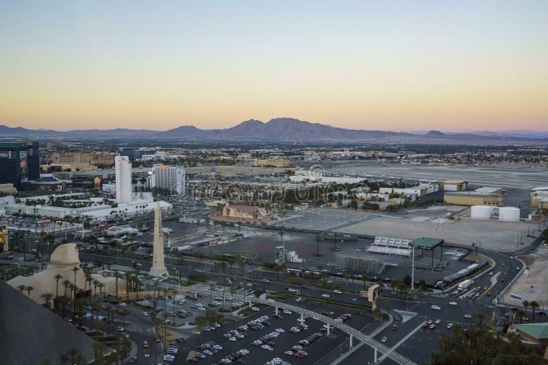 Superb aerial view of Strip, Las Vegas and Casinos royalty free stock photos