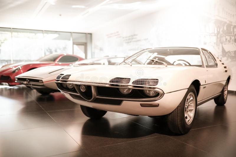 A superb Alfa Romeo Montreal model on display at The Historical Museum Alfa Romeo. Arese, Italy - A superb Alfa Romeo Montreal model on display at The Historical royalty free stock image
