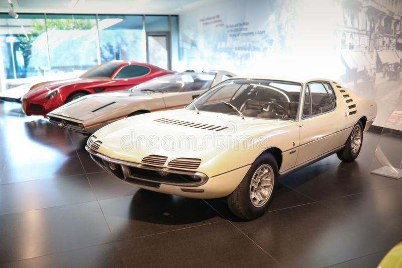A superb Alfa Romeo Montreal model on display at The Historical Museum Alfa Romeo. Arese, Italy - A superb Alfa Romeo Montreal model on display at The Historical stock photography