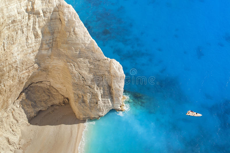 Superb beach Navagio in Zakynthos, Greece stock images