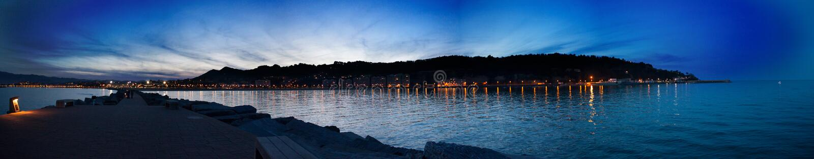 Superb evening atmosphere in Hondarribia/Fuenterrabía seen from the jetty. Basque Country, Spain royalty free stock photo