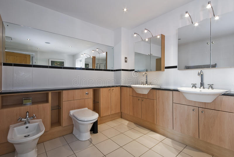 Superb luxury bathroom. With double hand wash basin and bidet royalty free stock images