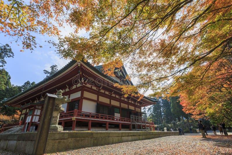 Superb sikt, nedgångfärg på Hieizan Enryakuji, Japan i autumen royaltyfri foto