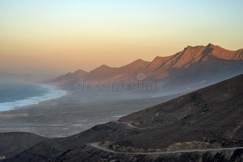 Superb sunset on the coast of Cofete, Fuerteventura, Canary Islands, Spain. Europe royalty free stock photo