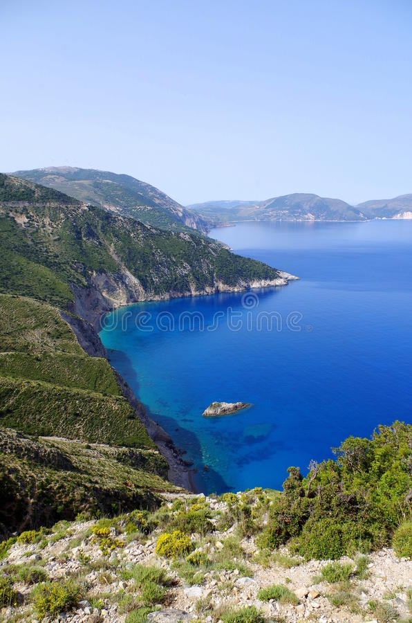 Superb view on bay in Kefalonia, Greece royalty free stock photos