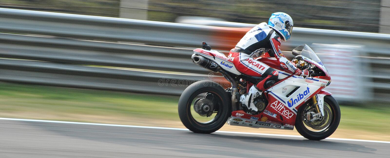 Superbike Drużynowy Althea Ściga się Ducati Carlos Checa obraz royalty free