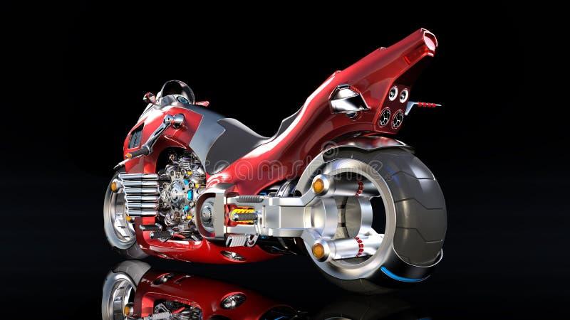 Superbike med krommotorn, röd futuristisk motorcykel som isoleras på svart bakgrund, bakre sikt, 3D för att framföra stock illustrationer