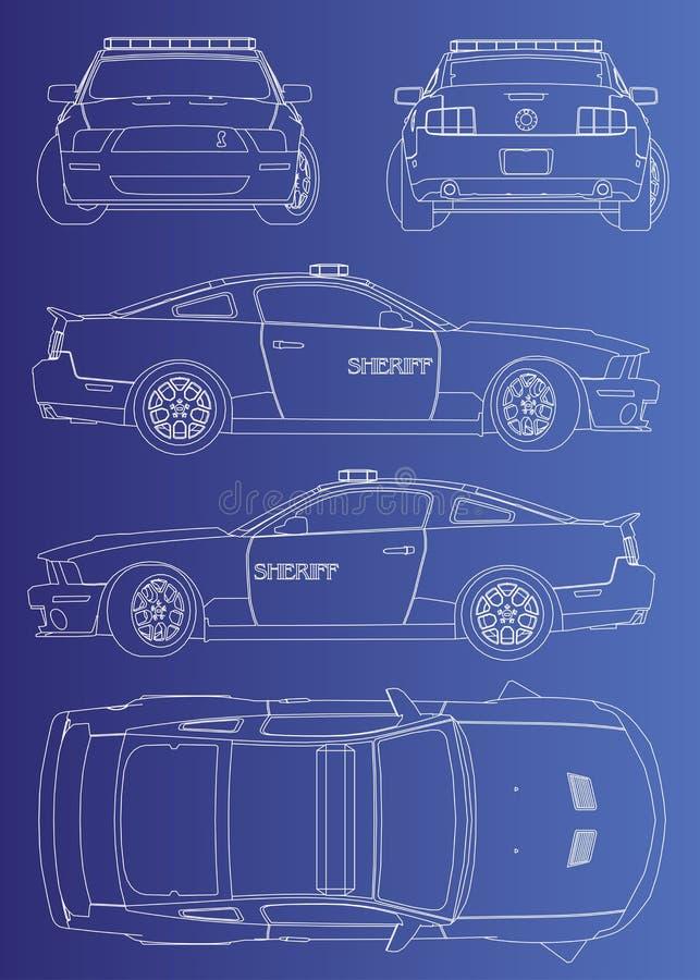 superbilpolissheriff vektor illustrationer