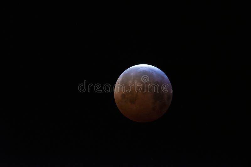 Superblut-Wolf Moon-Mondfinsternis über Großbritannien stockfoto