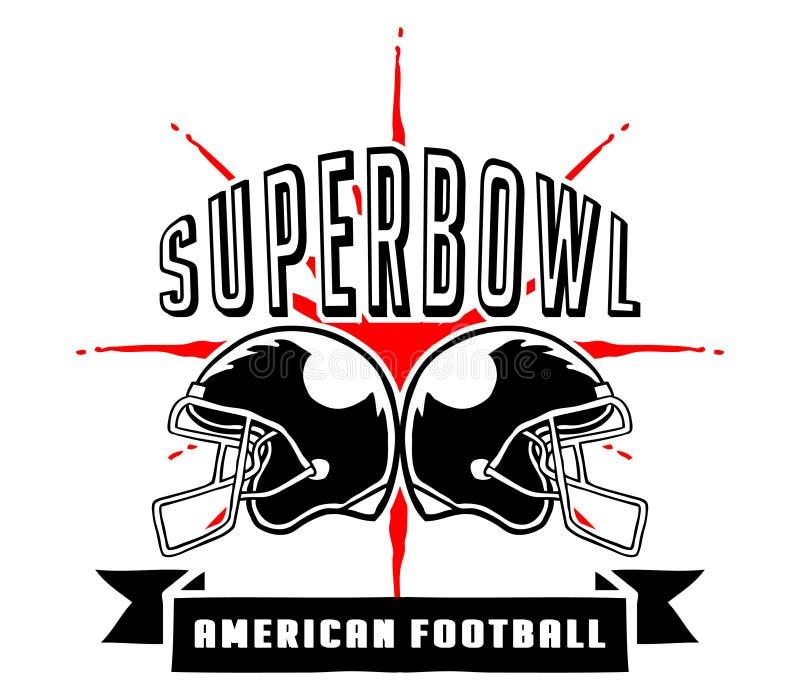 Superbowl和橄榄球徽章手凹道 库存例证