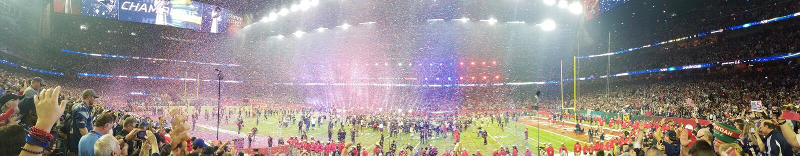 SuperBowl LI Patriots Winning Celebration royaltyfri bild