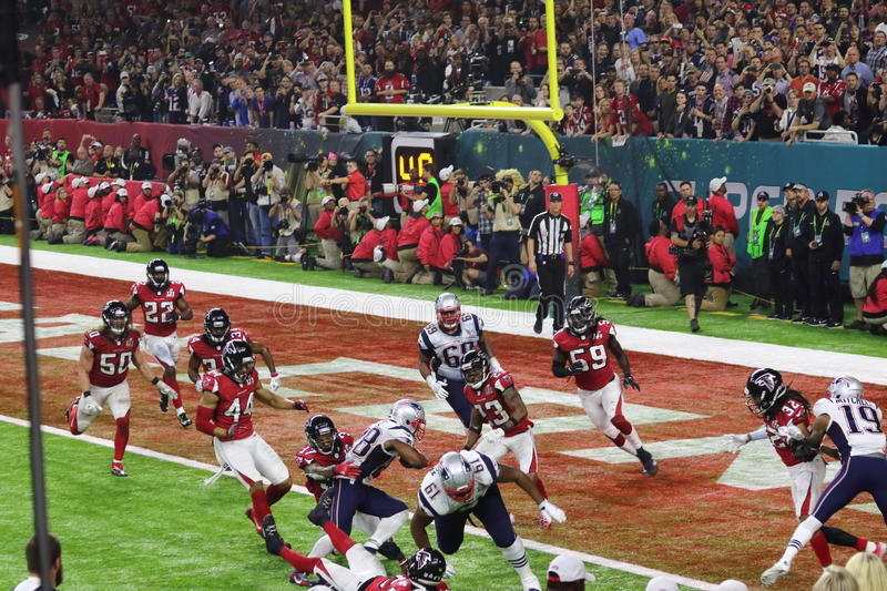 SuperBowl LI Winning Touchdown royaltyfri fotografi