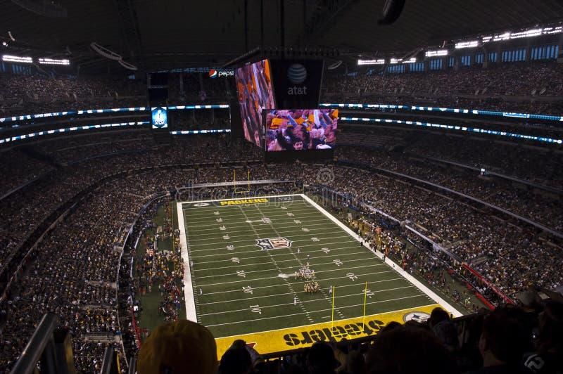 Superbowl XLV am Cowboy-Stadion in Dallas, Texas lizenzfreie stockfotos