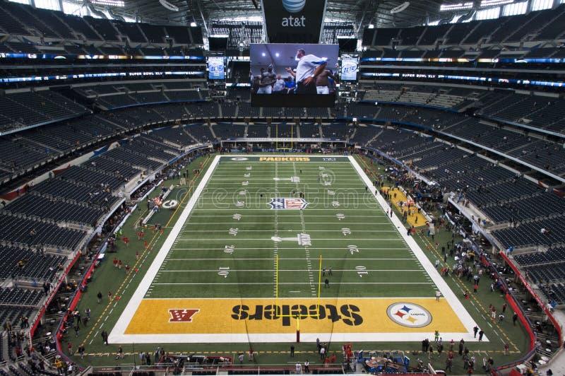 Superbowl XLV en el estadio de los vaqueros en Dallas, Tejas imagen de archivo