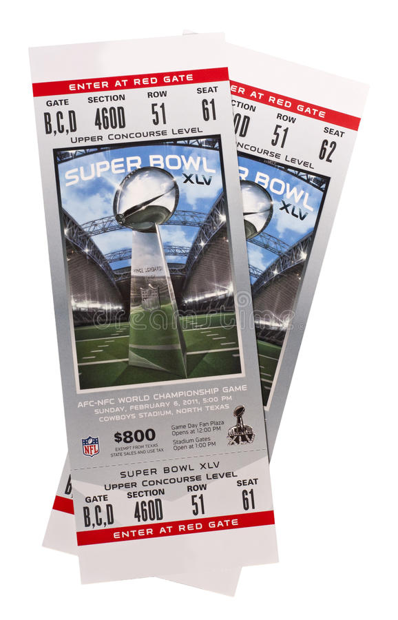 Superbowl XLV Tickets o futebol americano do NFL foto de stock
