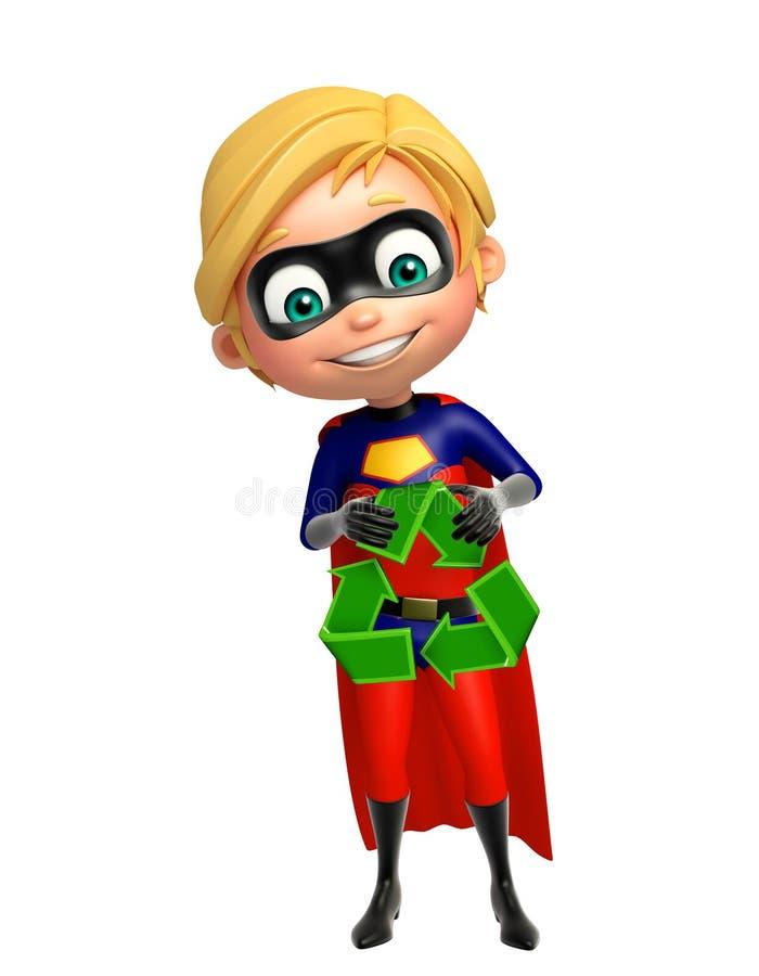Superboy与回收标志 库存例证