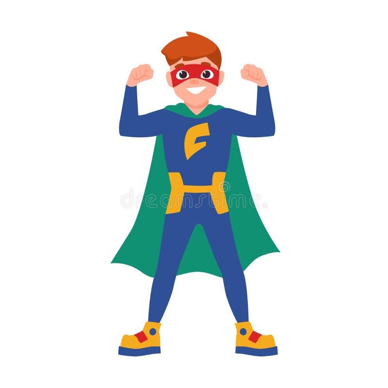 Superboy ή superchild Χαριτωμένο αγόρι που φορά τη μάσκα, το κομπινεζόν και το ακρωτήριο που στέκονται στην ισχυρή στάση Γενναίος διανυσματική απεικόνιση