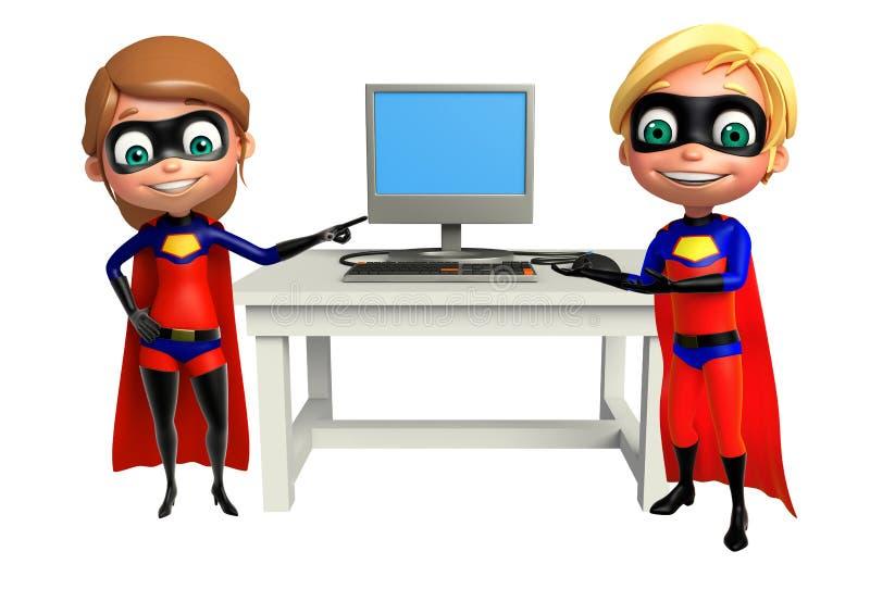 Superboy et Supergirl avec l'ordinateur illustration de vecteur