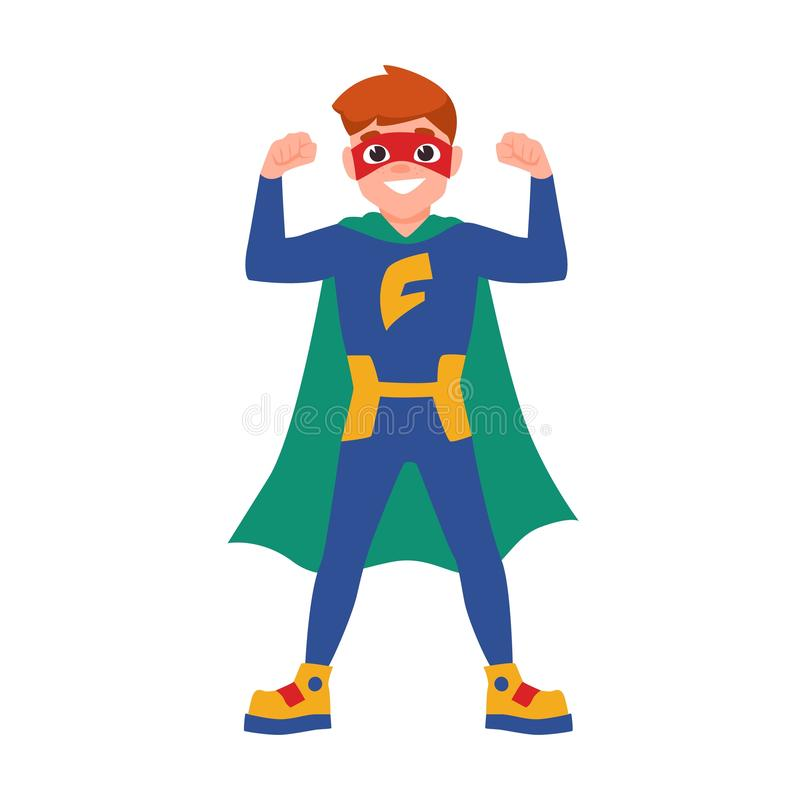 Superboy or superchild. Cute boy wearing mask, bodysuit and cape standing in powerful posture. Brave and strong kid hero. Or secret agent with super power vector illustration