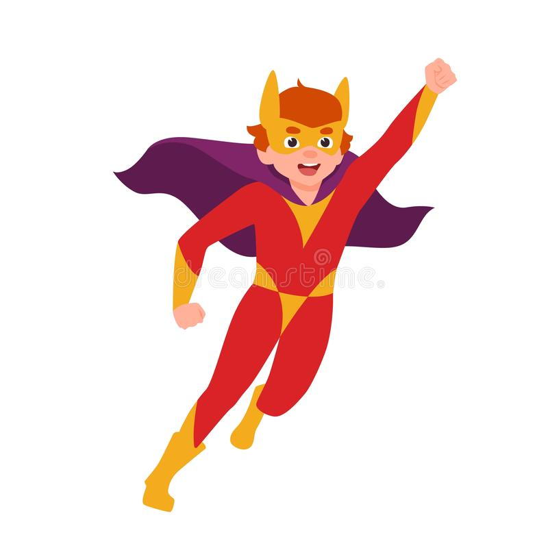 Superboy, superchild lub tajna super faktorska pozycja w potężnej posturze, Chłopiec jest ubranym maskę, bodysuit i przylądek, St royalty ilustracja