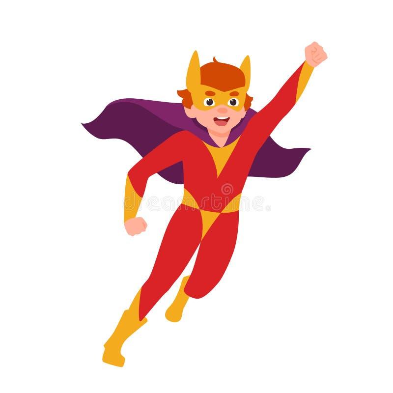Superboy, superchild ou posição super secreta do agente na postura poderosa Máscara, bodysuit e cabo vestindo do menino Corajoso  ilustração royalty free