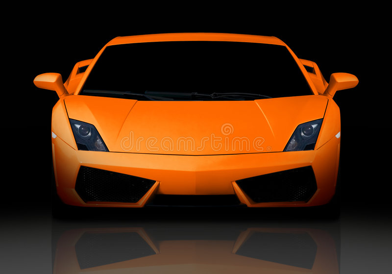 Supercar alaranjado. Vista dianteira. imagens de stock royalty free