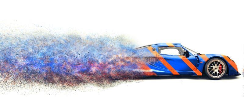 Supercar blu scuro con le bande arancio - effetto di sport di disintegrazione della particella illustrazione di stock
