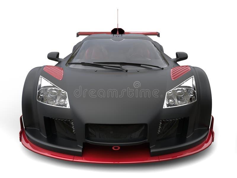 Supercar impresionante en la pintura negra mate con los detalles rojos ilustración del vector
