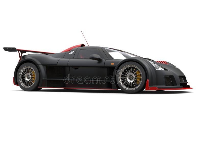 Supercar nero opaco con i dettagli rossi lucidi - colpo dello studio illustrazione di stock