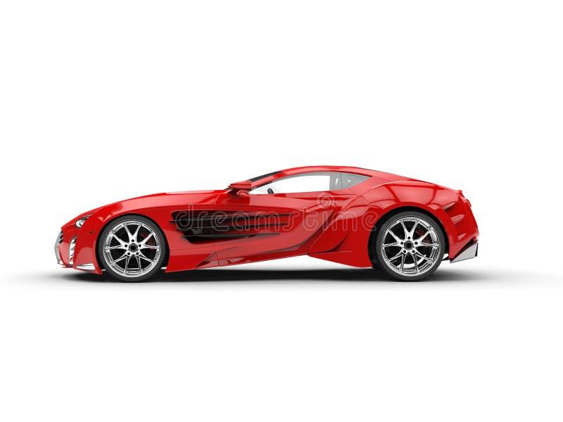 Supercar rosso di concetto - vista laterale royalty illustrazione gratis