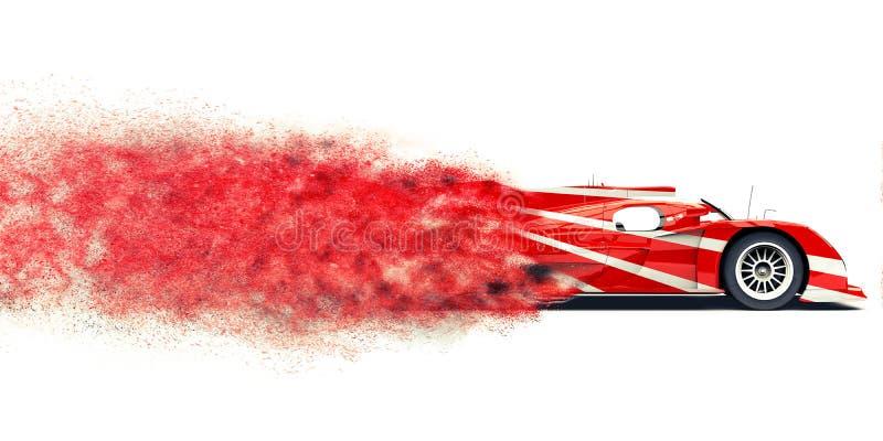 Supercar rosso moderno della corsa - traccia FX della particella illustrazione di stock