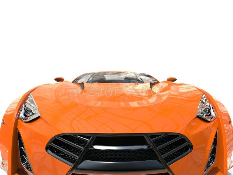 Supercarro alaranjado - close up extremo imagem de stock royalty free