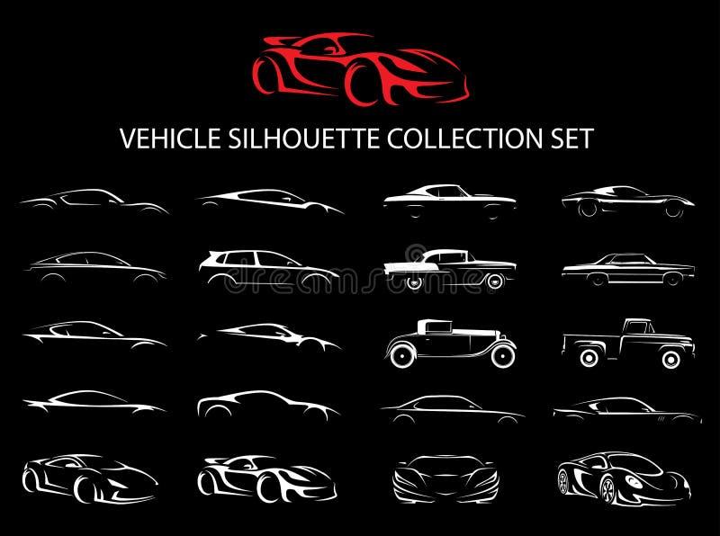 Supercarro e grupo regular da coleção da silhueta do veículo do carro ilustração do vetor