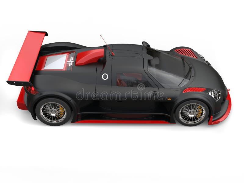 Supercarro impressionante na pintura preta matte com detalhes vermelhos brilhantes - vista lateral ilustração royalty free