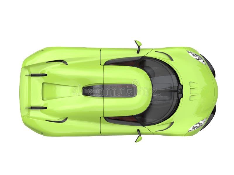 Supercarro louco do verde-lima - a parte superior vê para baixo ilustração stock