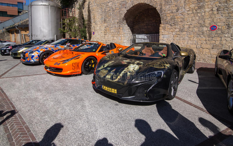 Supercars at Modball Rally in Luxembourg stock photo