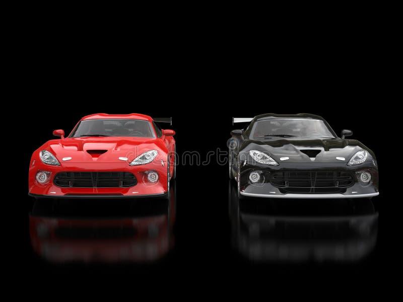 Supercars modernes rouges et noirs de course côte à côte illustration stock