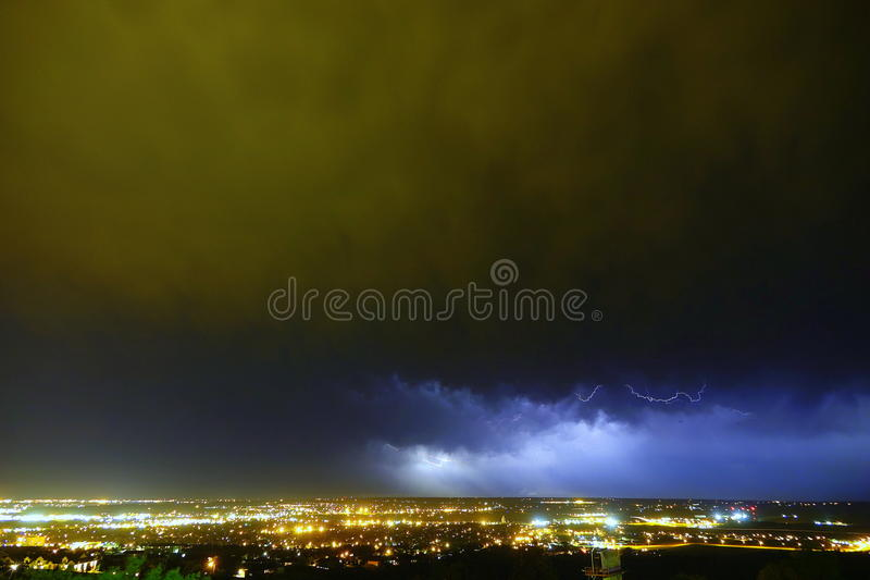 Supercell lightning, Rapid City, SD. Supercell cloud with cloud lightning over Rapid City, South Dakota stock image