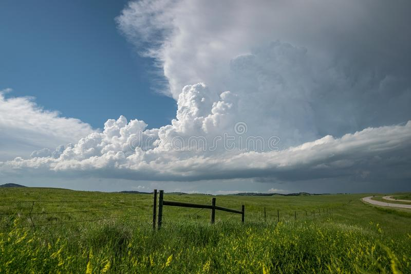Classic example of a supercell thunderstorm with flanking line, main tower, inflow band and anvil. This supercell storm formed over the Black Hills in South stock photography