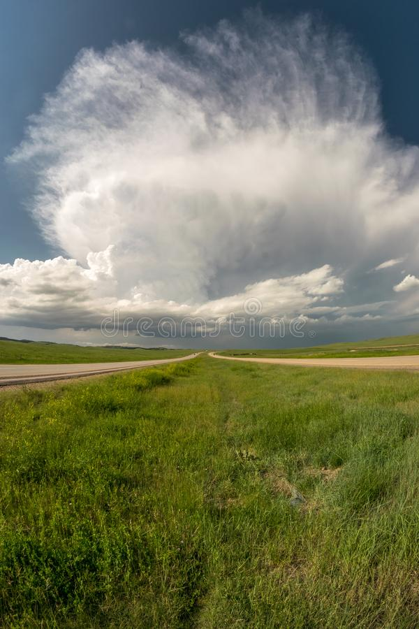 Supercell thunderstorm over the plains of South Dakota. Whilst storm chasing we witnessed this fantastic thunderstorm from a highway south-southeast of the Black stock photo