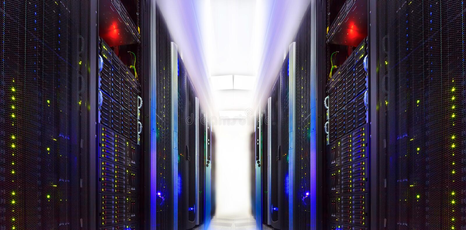 Supercomputer clusters in the abstract room data center. Supercomputer clusters in the room data center royalty free stock photos