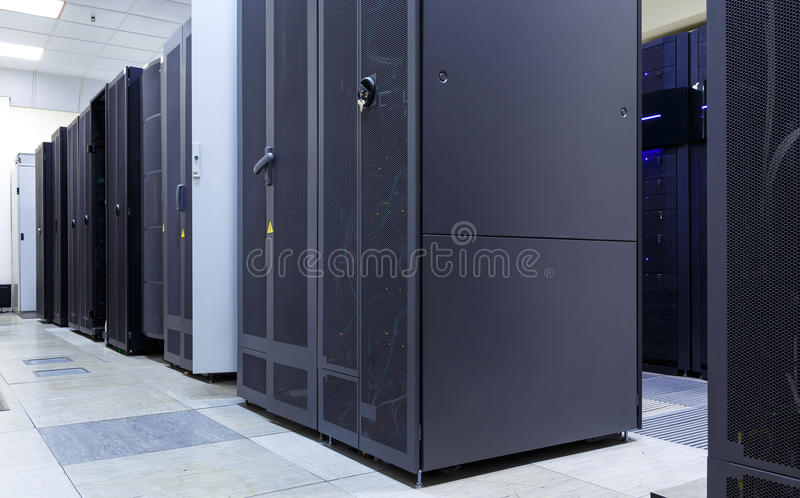 Supercomputer clusters in the room of modern data center. Supercomputer clusters in the room data center stock photo
