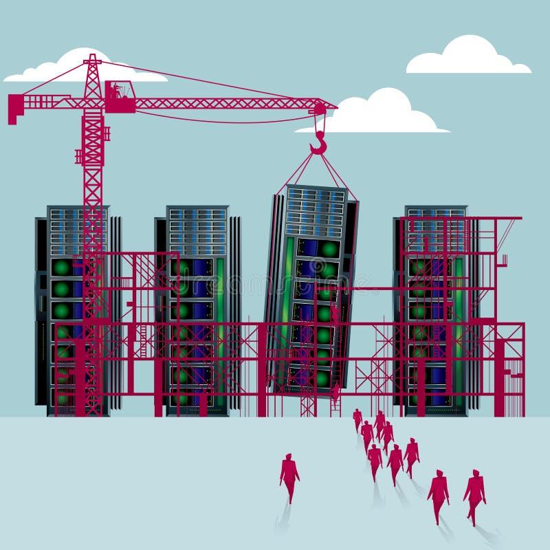 Supercomputeren är under konstruktion stock illustrationer