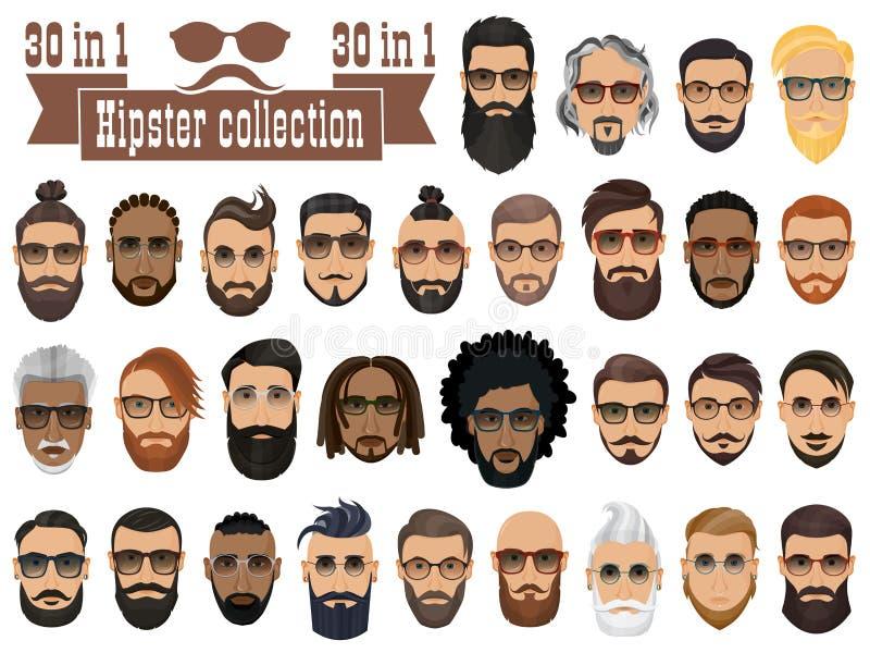 Superconjunto de 30 hombres barbudos de los inconformistas con diversos peinados stock de ilustración