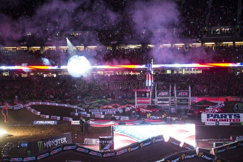 Supercross öppningscermonier arkivbild
