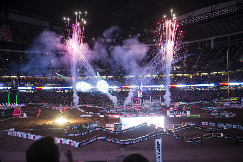 Supercross öppningscermonier arkivfoto