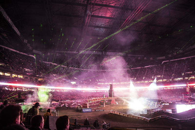 Supercross öppningscermonier royaltyfri bild