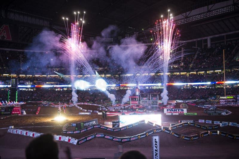 Supercross Openingsceremonies stock foto