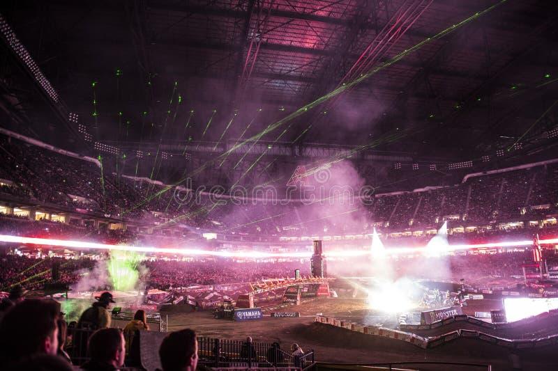 Supercross Openingsceremonies royalty-vrije stock afbeelding